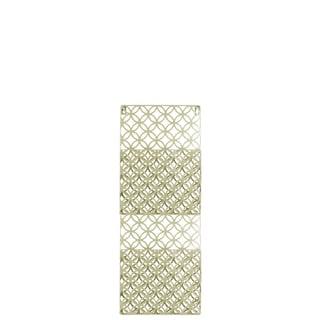 Metal Rectangular Wall Mail Organizer with 2 Tiers and Peforated Parabolic Diamond Pattern Coated Finish Champagne