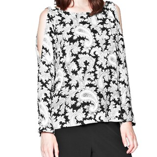 French Connection Women's Black/ White Paisley Cut-Out Blouse