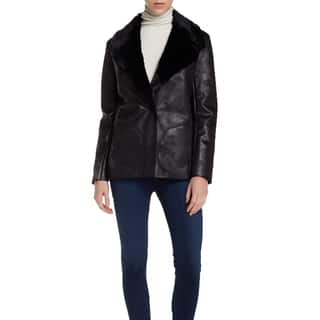 French Connection Women's Rhoda Black Faux Fur Textured Coat|https://ak1.ostkcdn.com/images/products/11003433/P18022191.jpg?impolicy=medium
