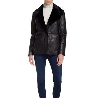 French Connection Women's Rhoda Black Faux Fur Textured Coat