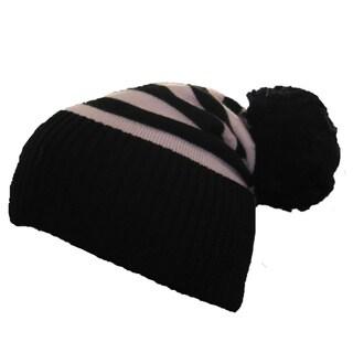 Sonia Rykiel Black/ Pink Striped Wool Pom-Pom Beanie