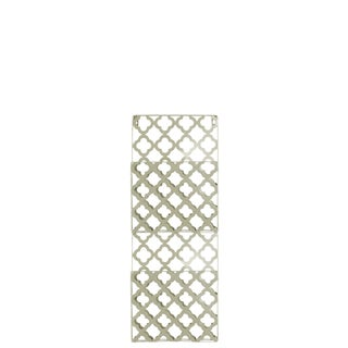 Metal Rectangular Wall Mail Organizer with 2 Tiers and Peforated Quatrefoil Pattern Coated Finish Champagne
