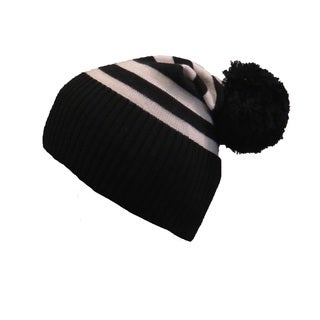 Sonia Rykiel Black And Ivory Striped Wool Pom-pom Beanie