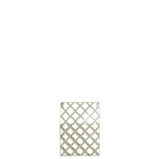 Metal Coated Finish Champagne Rectangular Wall Mail Organizer with 1 Tier and Peforated Quatrefoil Pattern