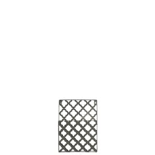 Metal Rectangular Wall Mail Organizer with 1 Tier and Peforated Quatrefoil Pattern Coated Finish Gray