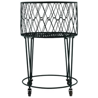 Metal Gloss Black Finish Round Laundry Basket with Diagonal Mesh Wire Design with 4 Hairpin Legs and 4 Casters with Round Base