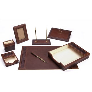 Brown Eco-Friendly 8-piece Leather Desk Set