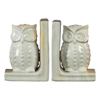 UTC11253-AST: Ceramic Owl Figurine Bookend Assortment of Two Marbleized Gloss Finish Cream