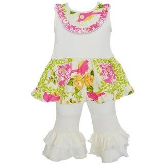 Ann Loren Boutique Girl's Kylie Spring Birds Tunic and Capri Set