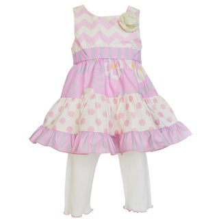 Ann Loren Boutique Girl's Floral, Chevron and Dots Dress with Capri Set