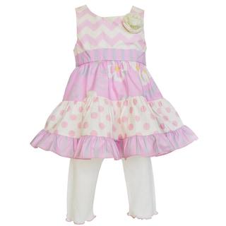 Ann Loren Boutique Girl's Floral, Chevron and Dots Dress with Capri Set