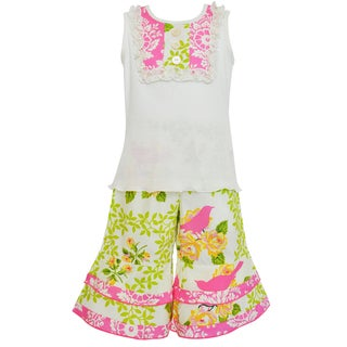 Ann Loren Boutique Girl's Spring Birds Damask Tank and Capri Spring Outfit