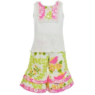 Ann Loren Boutique Girl's Spring Birds Damask Tank and Capri Spring Outfit