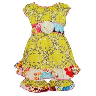 Ann Loren Girls Boutique Lattice and Floral Dress with Shorts Spring Clothing Set