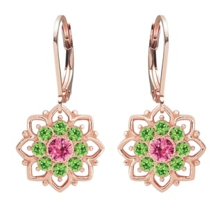 Lucia Costin Sterling Silver Pink/ Light Green Crystal Earrings