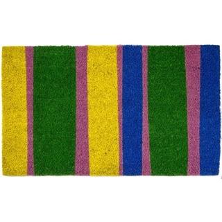 Bands of Color Non Slip Coir Doormat