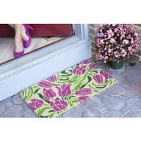 Blushing Tulips  Handwoven Coconut Fiber Doormat