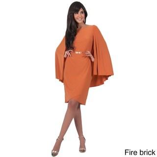 Koh Koh Women's Cape Sleeve Round Neck Mini Dress