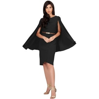 Koh Koh Women's Cape Sleeve Round Neck Mini Dress