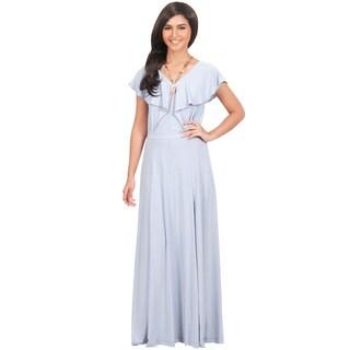 Koh Koh Women's Long V-Neck Short-Sleeve Ruffle Gown Maxi Dress