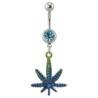 Supreme Jewelry 14G Two-tone Faded Marijuana Leaf Belly Ring