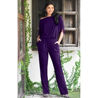 Koh Koh Women's Batwing Sleeve Round Neck Elegant Jumpsuit|https://ak1.ostkcdn.com/images/products/11003775/P18022473.jpg?impolicy=medium