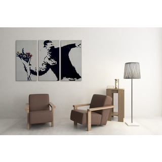 Banksy 'Flower Thrower' Triptych Gallery Wrapped Canvas Wall Art