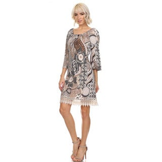 Moa Collection Women's Printed Lace Hem Dress