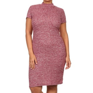 Moa Collection Women's Plus Size Rib Knit Shift Dress