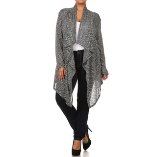 Moa Collection Women's Plus Size Grey Open Draped Cardigan
