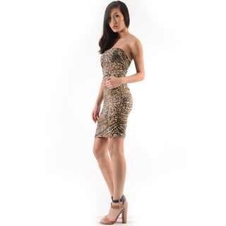 Moa Collection Women's Strapless Animal Print Dress