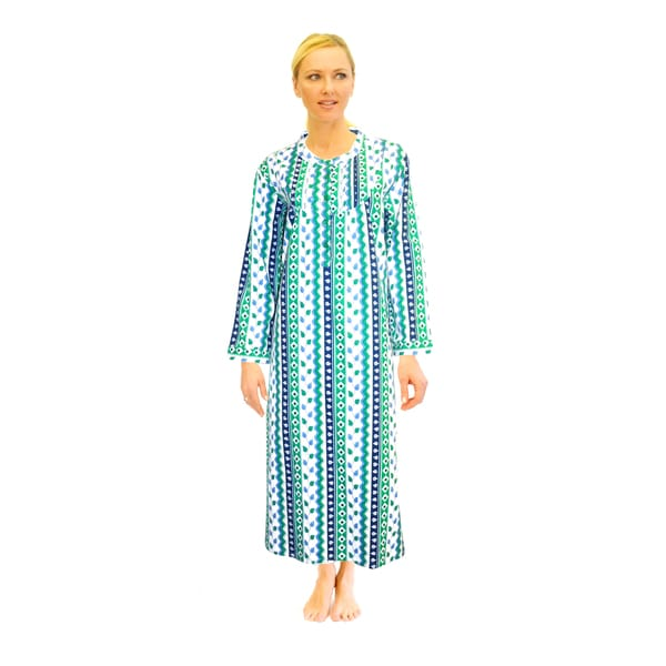 Shop La Cera Women\'s Printed Flannel Nightgown - Free Shipping Today ...