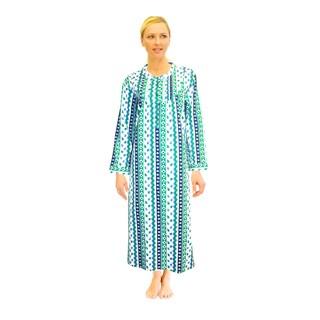 La Cera Women's Printed Flannel Nightgown
