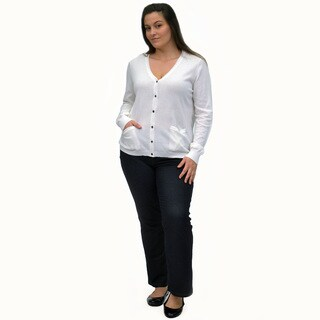 La Cera Women's Plus Size Cardigan with Pockets