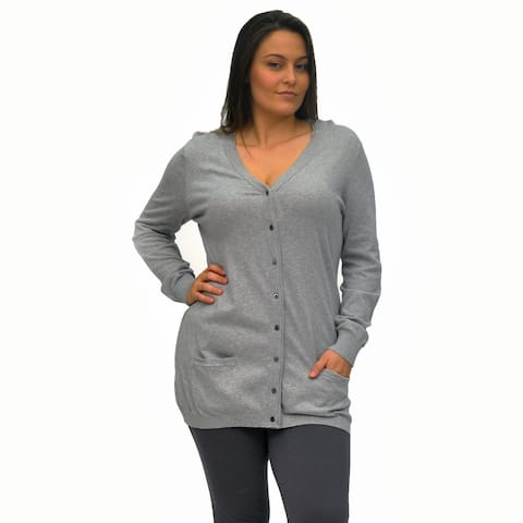 La Cera Women's Plus Size Long-Sleeve Tunic Cardigan