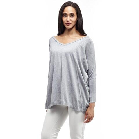 La Cera Women's Grey Pullover Top