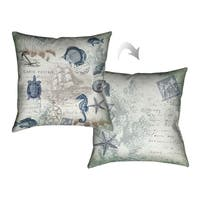 Laural Home Vintage Seaside Maritime Decorative Throw Pillow 18x18