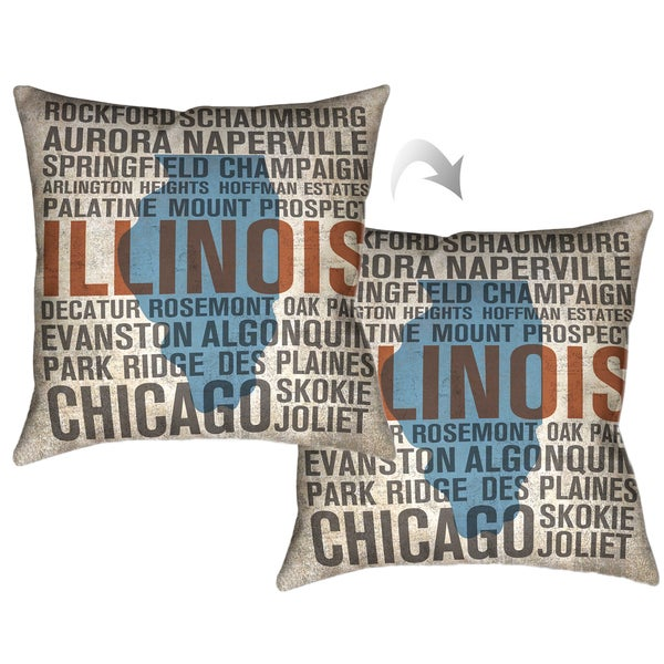 Laural Home Illinois Tyopgraphic Decorative Throw Pillow 18x18