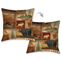 Laural Home Nature Lodge Collage I Decorative Throw Pillow 18x18