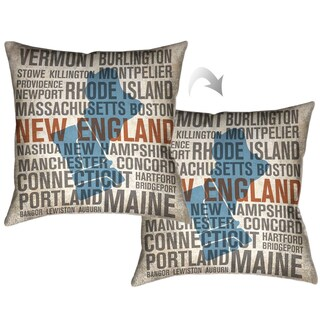 Laural Home New England Typographic Decorative Throw Pillow 18x18
