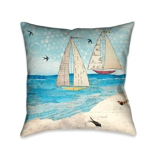 Laural Home Sailboats Decorative Thow Pillow 18x18