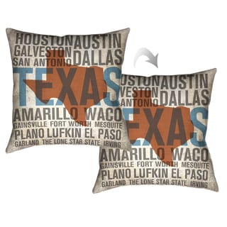 Laural Home Texas Typographic Decorative Throw Pillow 18x18