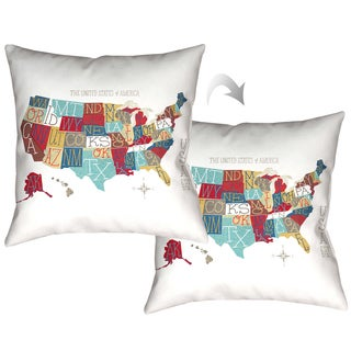 Laural Home Colorful Map Decorative Thorw Pillow 18x18