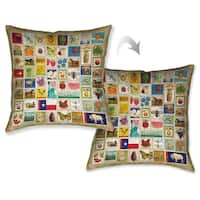 Laural Home US Stamps Decorative Throw Pillow 18x18