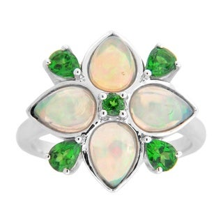 Sterling Silver Ethiopian Opal and Diopside Flower Ring