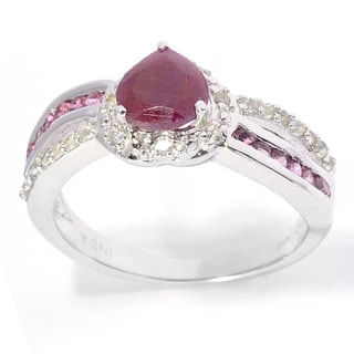 Sterling Silver Natural Ruby, Pink Tourmaline and White Topaz Ring