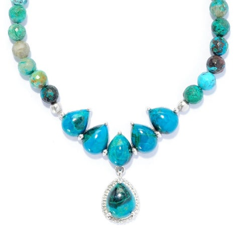 Sterling Silver 18-inch Gemstone Bead Drop Necklace