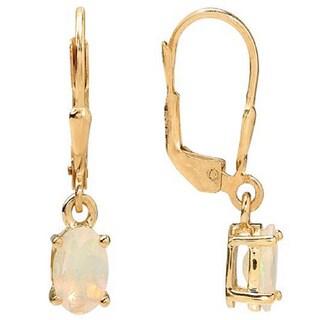 Sterling Silver Faceted Ethiopian Opal Leverback Earrings