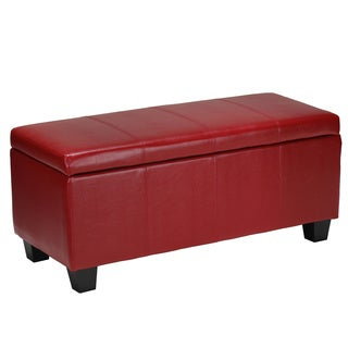Cortesi Home Alba Storage Ottoman in Red Vinyl