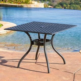 Outdoor Cayman Cast Aluminum Black Sand Dining Table (ONLY) by Christopher Knight Home